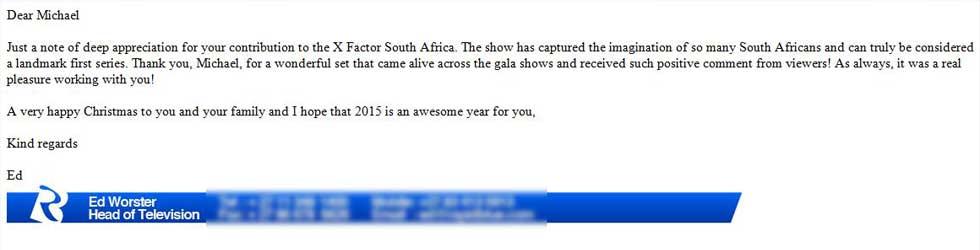 X Factor SA - Testimonial